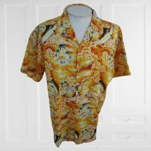 Armadillo vintage 1990s Hawaiian shirt sz XL fish